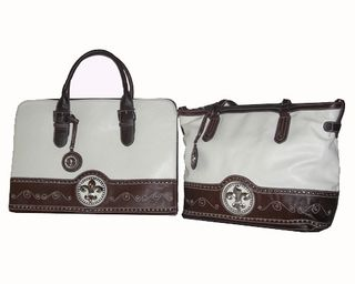 Fleur De Lys Western White Laptop Bag and Tote