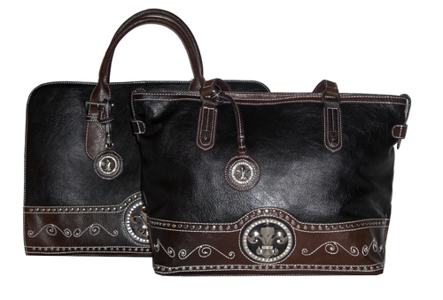 Western Black Laptop Bag and Tote