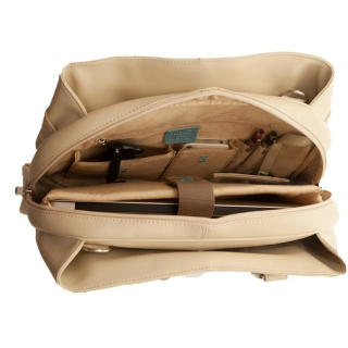 Jill e leather career bag vanilla interior